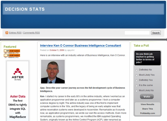 DecisionStats Interview with Ken O'Connor Data Consultant